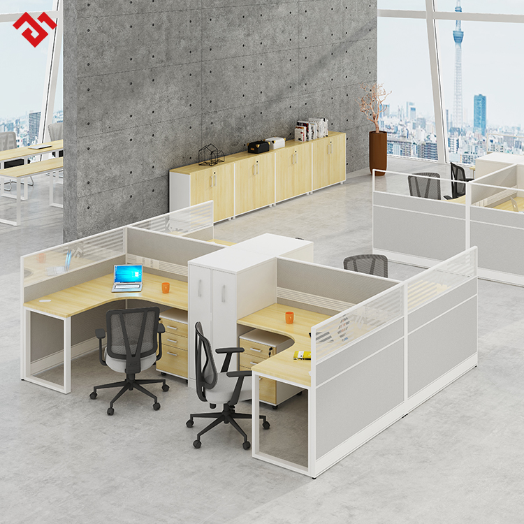 Modern l shape 4 seat office workstation cubicle