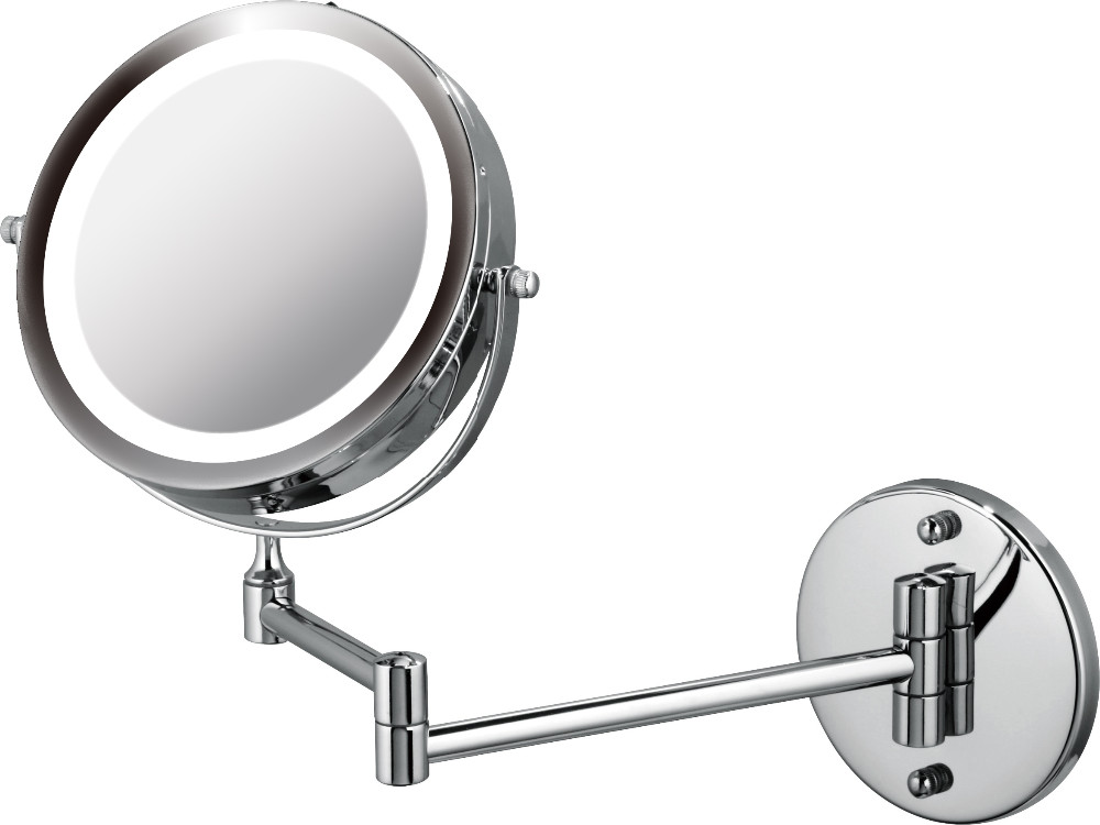 7 inch Fashion double sides chrome wall mounted bathroom mirror with extendable arm