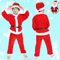 Hot Best Selling 2015 High Quality Velvet Kid Santa Claus Christmas costume for Children Kid 5pcs set