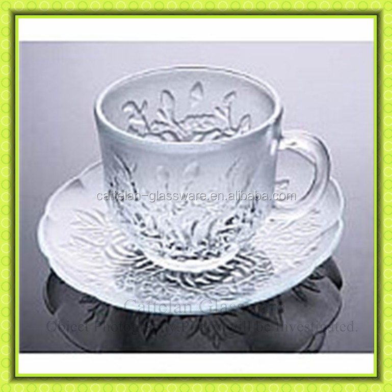 Elegant life,flowered engraved glass coffee cup and saucer,98ml glass tea cup,tableware