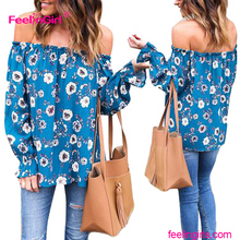 Flower pattern off shoulder blue long sleeve sexy woman blouse