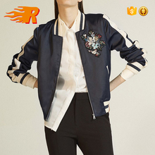 Custom New Bomber Women Ribbing Satin Stripe Varsity Jacket With Floral Cotton Embroidery
