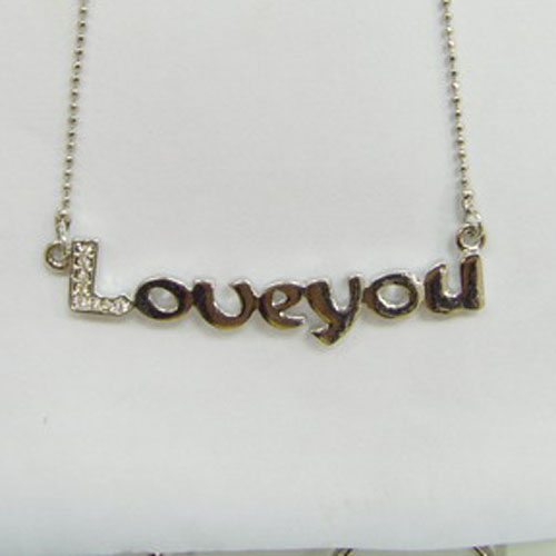 Name plate initial letter charms/metal love letter charm/ love you necklace #14309
