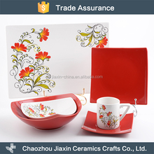 China factory wholesale flower decal ceramic light weight dinner set