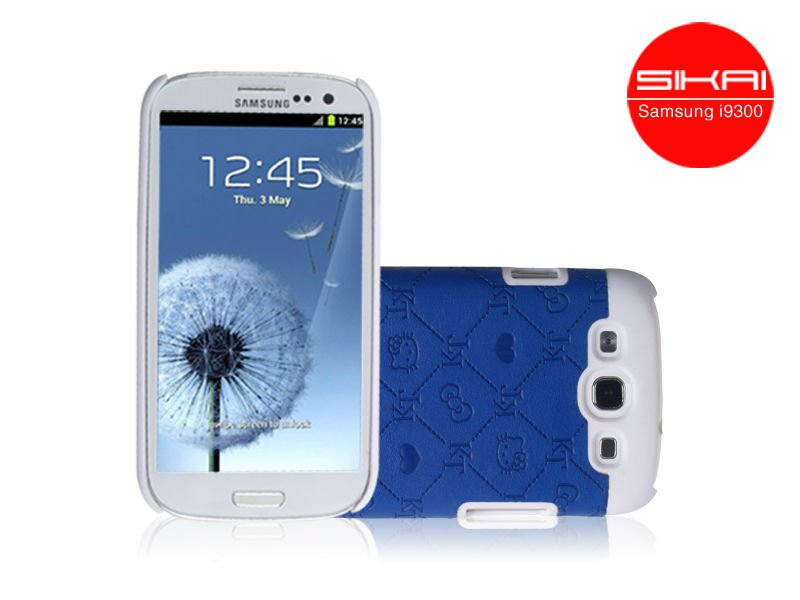 Sikai blue Noble Luxury Grid Hard Case Back Cover for Samsung Galaxy S3 SIII I9300
