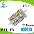 China suply high power 118mm 8w AC85-265V led R7s light with 2years warranty