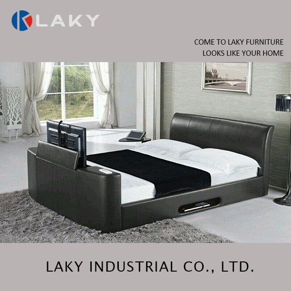 LB-1507 Latest king size leather bed with tv in footboard