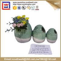 2015hot selling ceramic flower vase and dark brown egg shaped ceramic vase for Easter