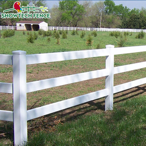 Durable security pvc plastic 3 rails horse cattle fence/filed fence