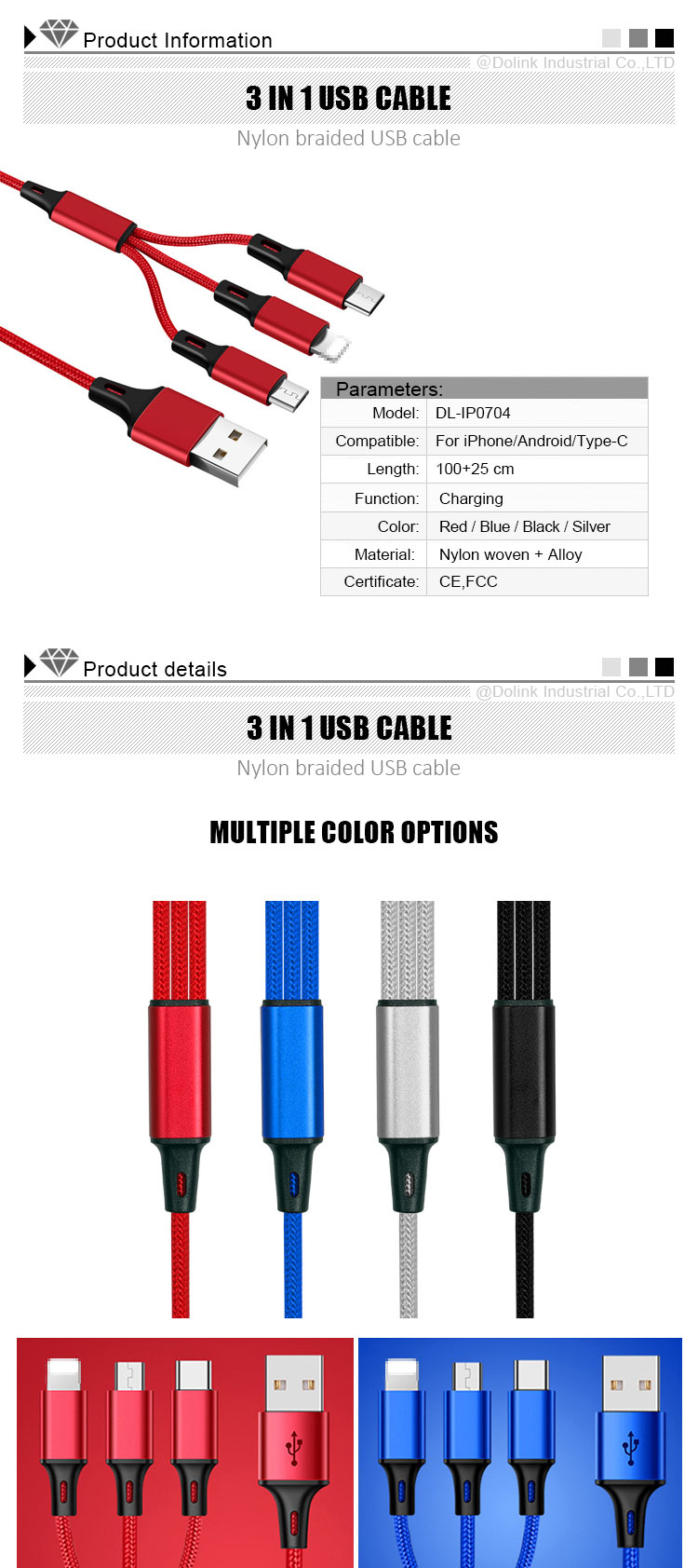 Wholesale Nylon Woven Micro Usb Cable,Mobile Phone Accessories Type-C Usb C Cable,Fast Charging 3 In 1 Usb Data Cable For iPhone