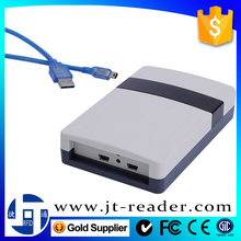 cost effective plastic case integrated tag building reader uhf rfid double usb desktop transponder with 3dbi circular antenna