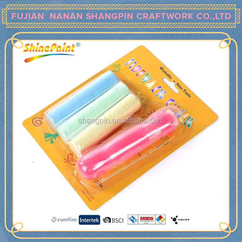 4PCS color non-toxic dustless sidewalk big chalk and holder