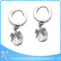 ZS15072 New elegant women stainless steel fashion butterfly dangle zircon hoop earrings