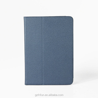 Flip view stand PU leather cases for iPad air 2 tablet PC with slim metal frame inside Blue