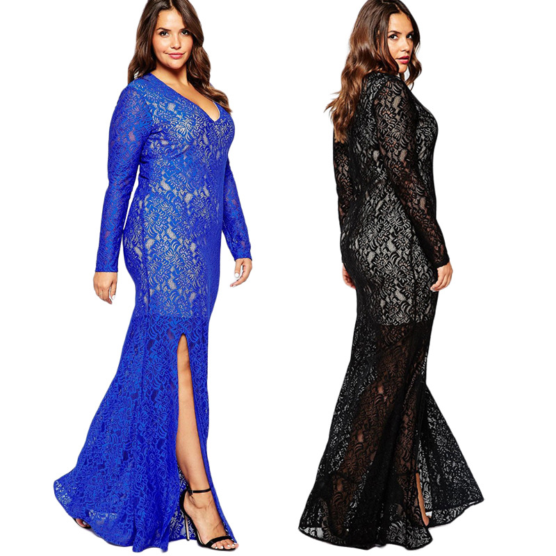 F20250A European style dress designs fat ladies fat women lace dress patterns evening dress for fat women plus size clothing