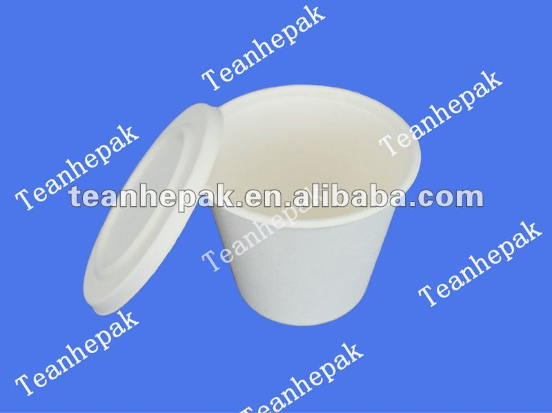 disposable paper dinnerware compostable sugar cane bagasse pulp cups with lids