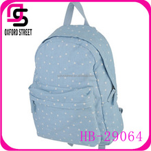 Top fashionable sky blue dot girls laptop travel backpack