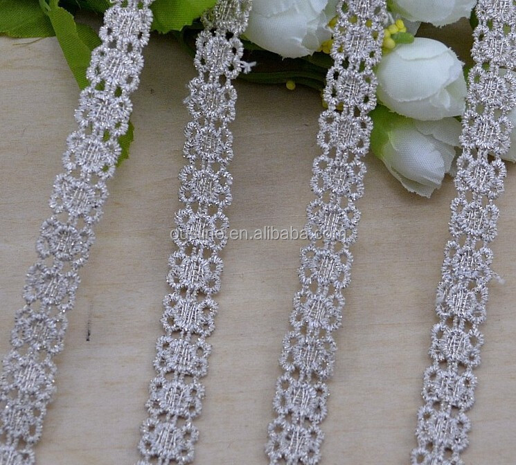 2016 gold thread gray flower lace trim,wholesale handmade lace for garment