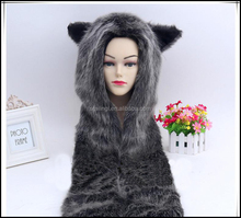 Wolf Hood Faux Fur Hat with scarfs mittens & paws Spirit 3 in 1, Black Cat Full Hood Animal Hat Hoods with Mittens Gloves Scarf