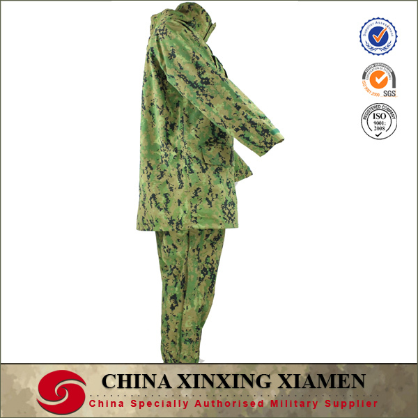 camouflage woodland waterproof sealing tape rain jacket made by nylon for military