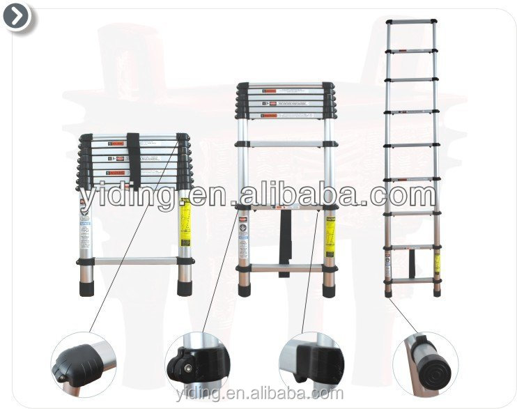 2.6M / 8.5Ft Telescopic lightweight ladder & Extension Ladder Folding Telescoping ExtendEN131 APPROVAL aluminium