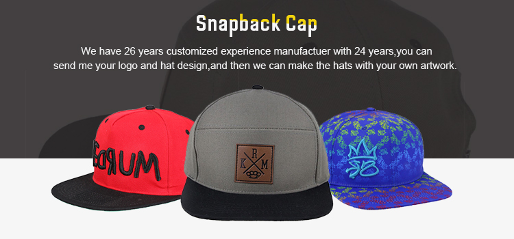 China Factory custom 5 Panel Snap black trucker cap embroidery leather Snapback hat