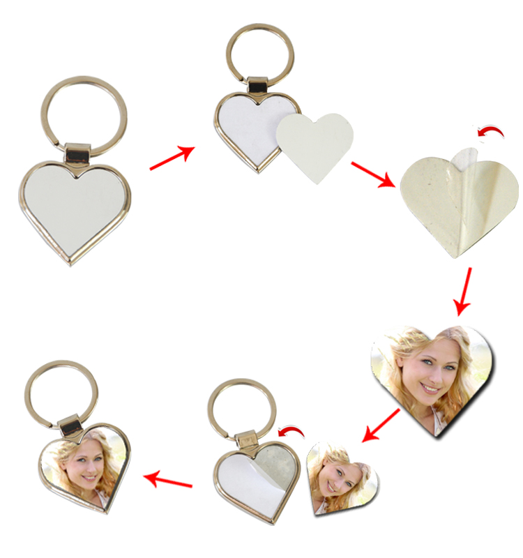 Heart Shape DYE Sublimation Keychain Blanks for Souvenir
