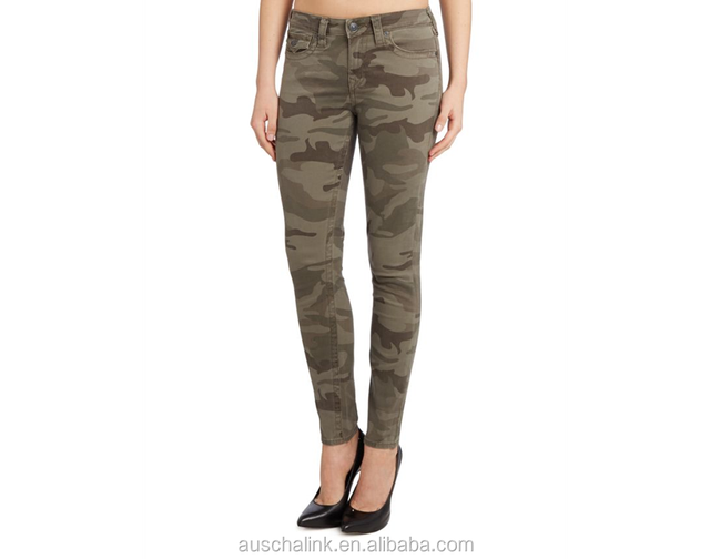 OEM women skinny camouflage export jeans made in china