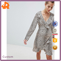 custom made long sleeve spring fashion ruffles in leopard print girl wrap dress