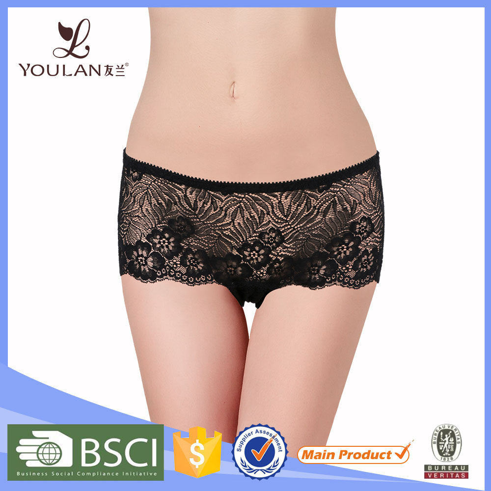 2017 Newest Black cotton underwear silk panties