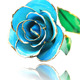 Real Rose Dipped in 24k Gold Fresh Light Blue Rose Flower With GIft Box 24K Gold Foil Real Rose Home Decor