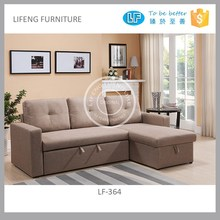 small corner sofa cum bed designs with storage chaise, LF-364