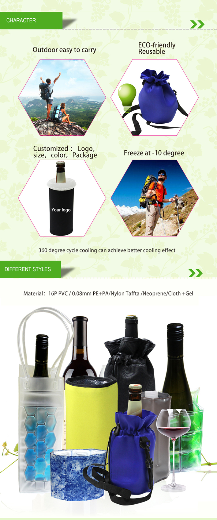 Alibaba Reusable Nylon Freezing Wine Bottle Cooler Beer Cooler Sleeve