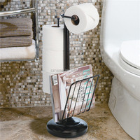 Toilet Paper Standing Roll Dispenser Holder Toilet Paper Stand Chrome Magazine Rack
