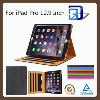 Amazon hot selling Black Tan stand tablet leather case for iPad pro with a pocket for file