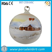 Hand painted ceramic Christmas ball ornament