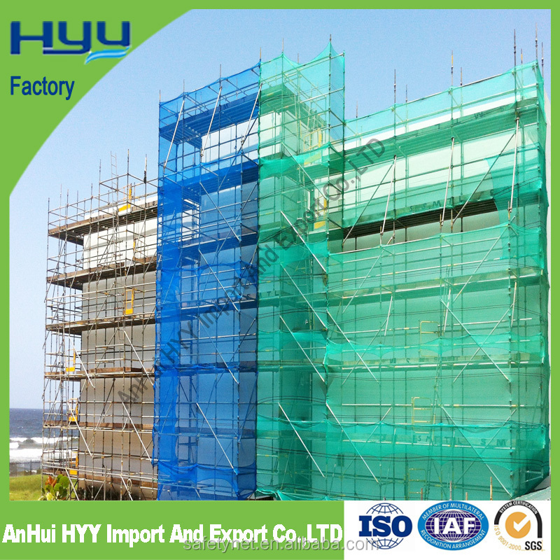 Green and Blue Scaffolding virgin HDPE Knitted Construction Safety Net