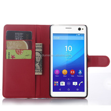 Folio stand pu leather case with auto sleep& weak back protector cover case for Sony Xperia C4
