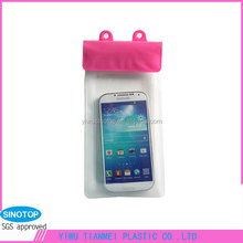 Promotional outdoor pink zipper clear PVC cell phone waterproof bag