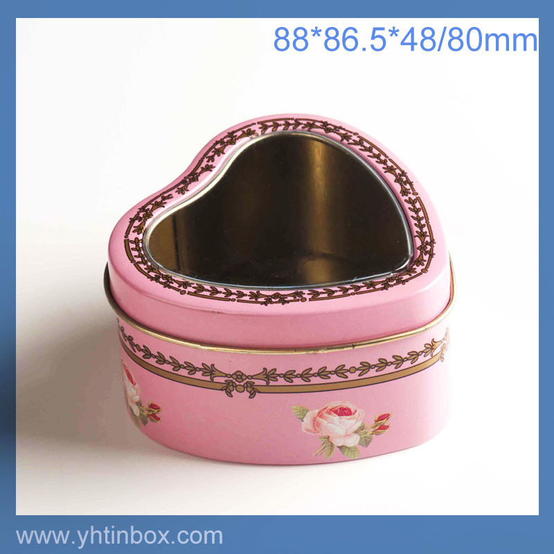 heart shaped jewelry tin box for silver jewelry or wedding ring