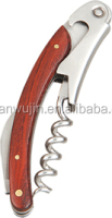 Manufacture offer cheap and good wine bottle opener and stainless steel corkscrew,wood handle