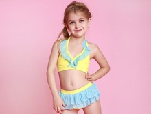 Factory Hot Customized Sexy Kids Clothing Cute Weekly Swimsuit Tied Maillot Bikini Enfant
