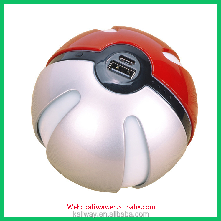 Pokeman Go Phone Accessories Ball Shape Power Bank 10000mah