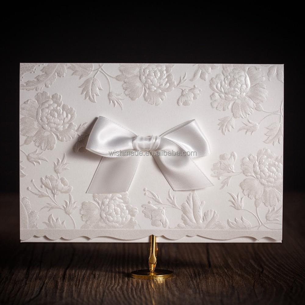 white flower embossed wedding invitation card printable customized ...