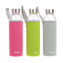 Glass Water Bottle Sleeve Neoprene Insulated Collapsible Drink Bottle Covers Carrier Sleeve