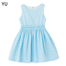 YU Fast Shipping Blue Chevron Wholesale Children's Boutique Clothing