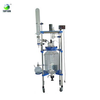 Double layer 10L jacketed glass reactor 10l toption