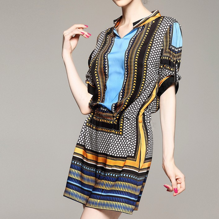 classy european formal short patterned vintage guangzhou lady dresses korean fashionable urban clothing plus size women