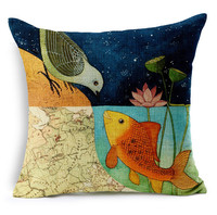 0519L-04 latest design cushion cover fish and bird love