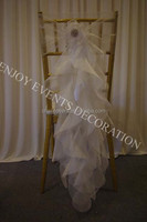 YHC#123 fancy organza curly chair sash polyester banquet wedding wholesale cheap chiavari cover